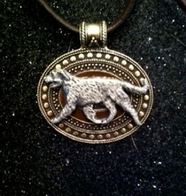 Irish Wolfhound Dog Brass Medallion on leather cord~necklace~