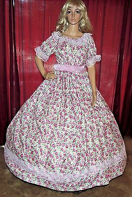 CIVIL WAR REENACTMENT VICTORIAN PIONEER DICKENS Pink Floral Costume Dress Gown
