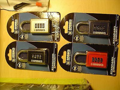 "Set of 2, Brinks 4 dial Resettable Padlock, 40mm, 3 1/2 "" Combination Lock"
