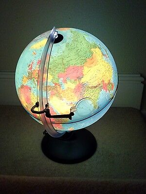 LIght up WORLD GLOBE Rotating Swivel Map of Earth Atlas with magnifing glass.