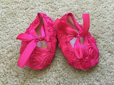 Baby Girl Shoes Toddler Hot Pink Flowers Girl Dress Crib Shoes 6-9 months