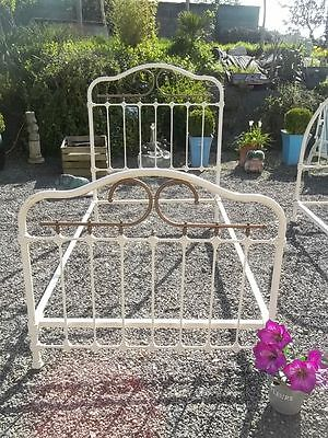 French Antique Authentic Iron And Brass Provincial Bedstead