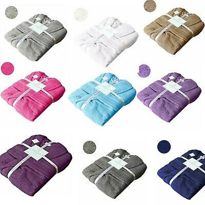 Mens Ladies 500 GSM Egyptian Cotton Terry Towelling Shawl Collar Hooded Bathrobe