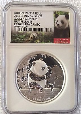 Shenyang 2016 Lunar Monkey Panda 2 oz Silver China Medal NGC 70 First Release