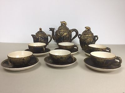 Meiji Japanese Black and Gold Satsuma Dragon Tea Set