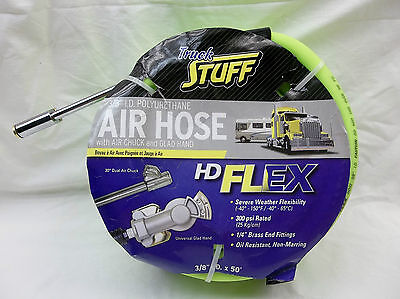 """POLYURETHANE 3/8"""" I.D. AIR HOSE 50ft.  WITH AIR CHUCK & GLAD HAND 300 PSI RATED"""