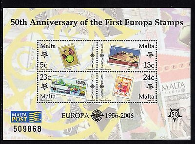 2006 Malta 50th Anniv. of Europa Stamps Miniature Sheet SG MS1455 Unmounted Mint