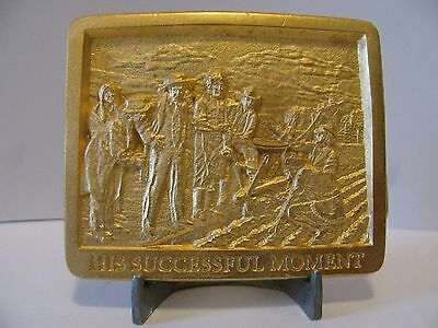 John Deere Plow Walter Haskell Hinton Belt Buckle Limited Ed 4th in Series Gold