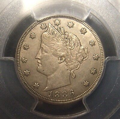 "1886 Liberty ""v"" Nickel, Scarce Key Date, Graded Au55 By Pcgs With Cac Label"