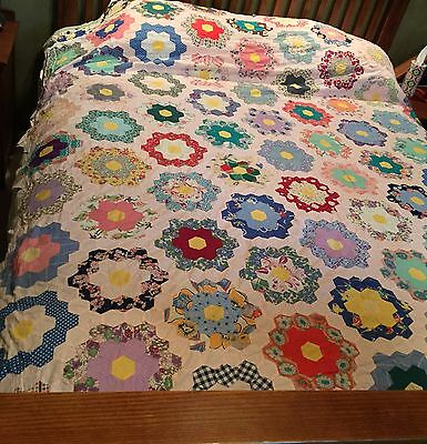 Grandma's Flower Garden Quilt Top 1930-40s Colorful Feedsack Prints