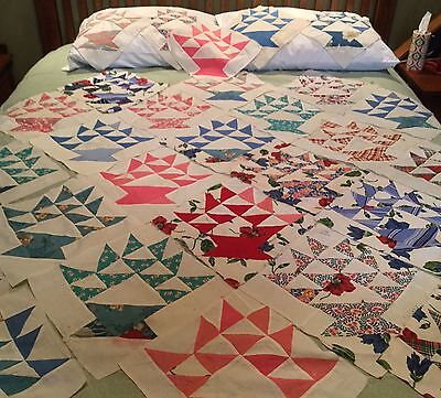 "Lot Of 29 Basket Quilt Pieces 1930-40s Colorful Cotton Prints 11"" Square"