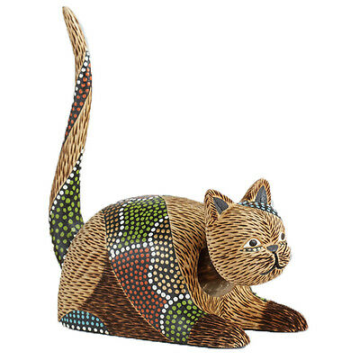 Cat Bobblehead Hand Crafted Wood Statue