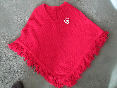Adorable Maroon Knit Poncho With Fringe And Flower Girls Size 6/6X Excellent!