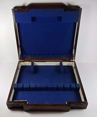 Empty Vintage Antique Art Deco Wooden Cutlery Canteen Box, 6 Place Setting