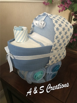 Nappy Cake Pram for New Baby Gift, Baby Shower Gift, Christening Gift