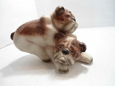 Bulldog Collectible; Ceramic Figurine With Bulldog Puppys Playing.