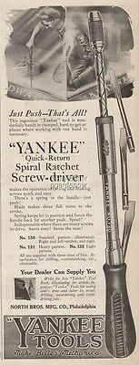 1920 Yankee Tools Spiral Ratchet Screwdriver North Bros Mfg Philadelphia Ad