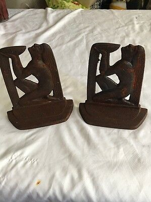 Well of Wisdom Iron Bookends - Antique 1929 Cast Iron-AS IS RUSTY