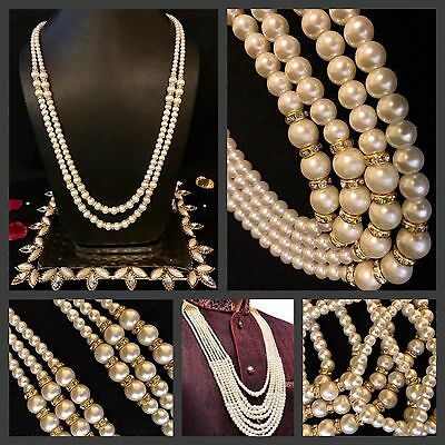 Bride/Groom Attire Kantha Moti Mala Ivory Pearl 2 String Indian Wedding Necklace