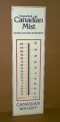 "Original Vintage CANADIAN MIST WHISKY Tin Metal Thermometer Sign - 28"" tall"