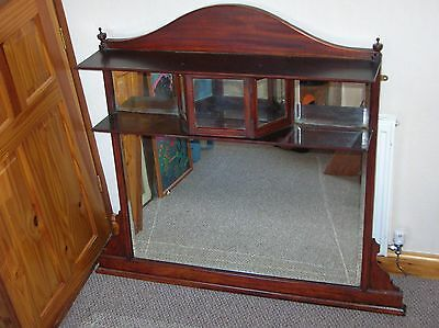 Antique Mirrored Overmantle with shelves, late Victorian or Edwardian