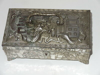 Antique Silver Plated Chinese Dragon Trinket Cigar Cigarette Box