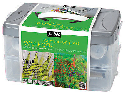 PEBEO VITRAIL STAINED GLASS PAINT ATELIER WORKBOX SET 10 X 45 ml  GLASS PAINT