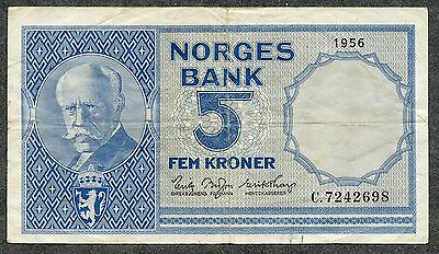 NORWAY 5 Kroner 1956 VF Condition
