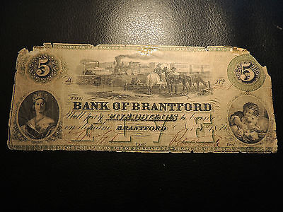 1859 Canada Bank Of Brantford $5 Five Dollars Engraved Date 40-10-04-08