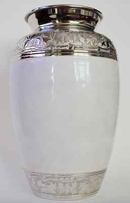 Adult Brass Cremation Urn for Ashes - Stunning White Pearlescent design