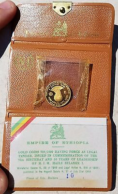 1966 10 Dollars Ethiopia Gold Coin PROOF Haile Selassie-KM# 38-COMPLETE .900!