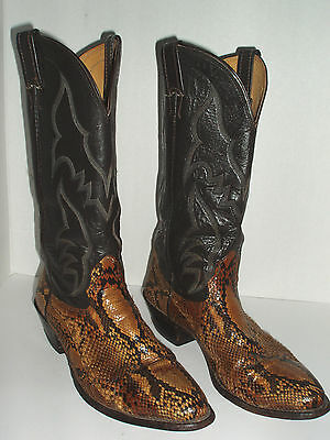 Mens Vintage Nocona Snake Skin Brown Leather Cowboy Boots Size 8.5 D