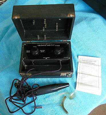 Vintage Medical Violet Wand Soltan De Luxe Six with Instructions