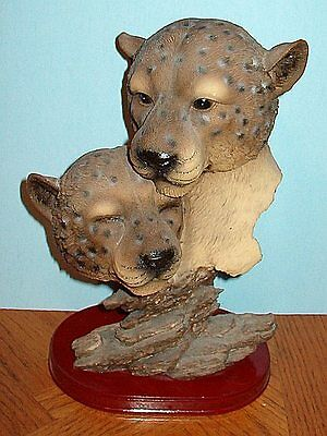 Large Figurine - Loving MOUNTAIN LIONS or COUGARS Excellent