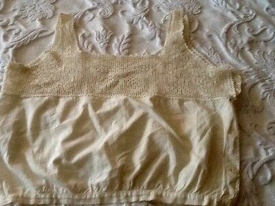 Antique Victorian Edwardian Corset Cover Camisole with Crochet Straps & Edging