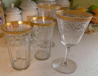 4 Fostoria Gold Rimmed Needle Etched Wine Water Stemware & Tumbler Glasses