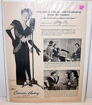 Vintage ad 1943 Cannon Hosiery with Hildegarde