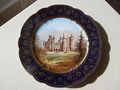 Antique Sevres Cabinet Plate of Chateau Rouville 1844