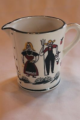 Vintage Hand Painted Small Ceramic Creamer Farmer And Wife Pa Dutch Theme