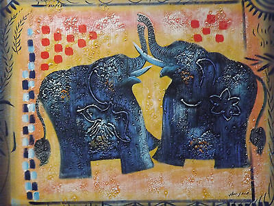 abstract blue elephants large oil painting canvas art contemporary original
