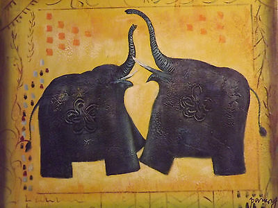 abstract blue elephants large oil painting canvas modern contemporary original