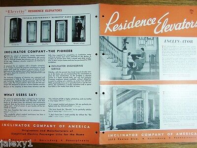 1954 INCLINATOR Co of America RESIDENCE ELEVATORS & Chair Lifts Vintage Catalog