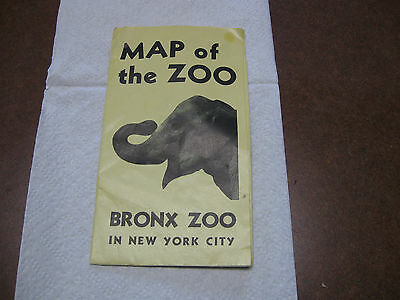 VERY RARE VINTAGE ESTATE 1950's EDITION MAP OF THE BRONX ZOO IN NEW YORK CITY