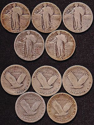 Lot of Five Standing Liberty Quarters: 1925 to 1929, All Different