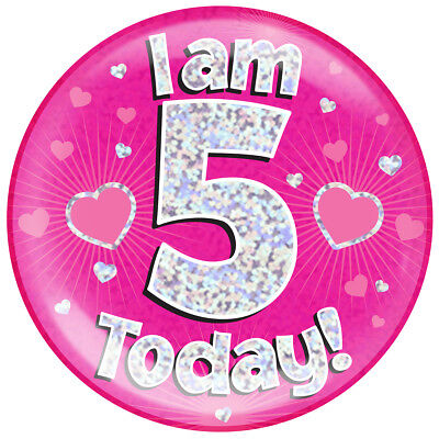 Age 5 5Th Birthday Badge Party Gift Present For Girl Pink Large Jumbo Badge