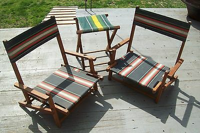 Vintage  Wooden Folding Canvas Lounge Beach Lawn Chairs PAIR With Stool 1940s