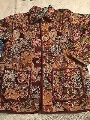 Medium Blair Ladies Cat Jacket Tapestry Pockets Buttons Calico Tiger Awesome