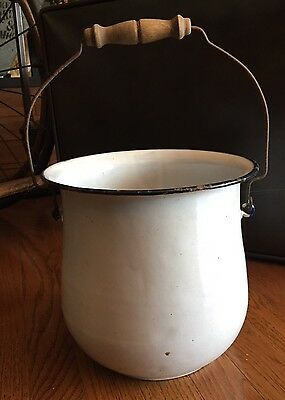 Vintage White Enamel Chamber Pot With Bail Handle