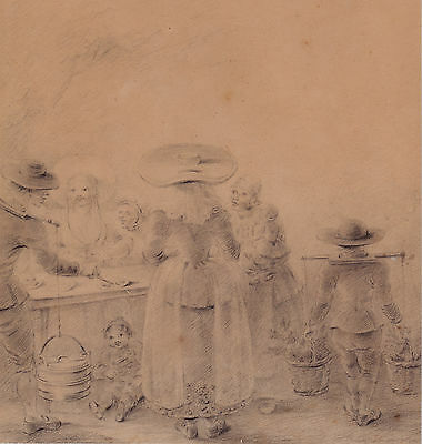 18Th / 19Th Century Flemish Dutch Scene Fine Drawing Peasants Going To Market