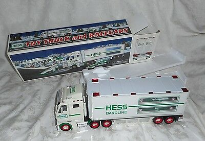 2003 Hess Toy Truck and Race Cars with Lights In Original Box NEW
